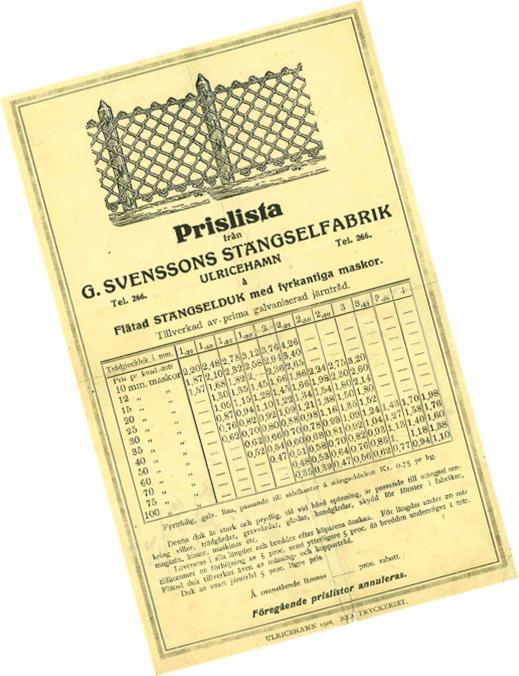 Prislista 1930